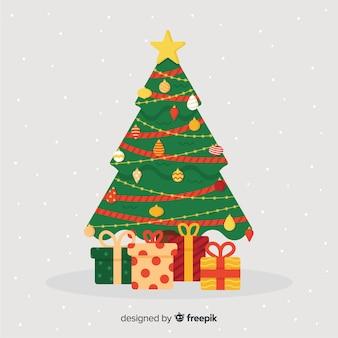 Flaches design des weihnachtsbaums