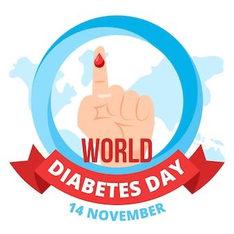Flaches design des weltdiabetestagesbewusstseins