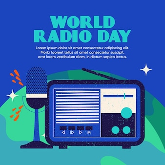 Flaches design des weltradiotaghintergrundes mit mikrofon und radio Premium Vektoren