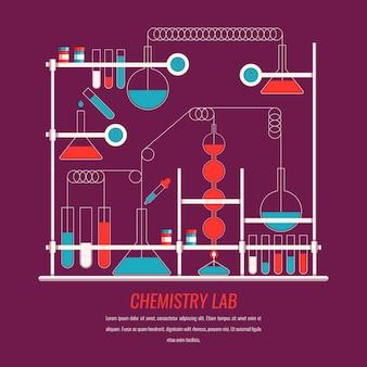 Flaches design des wissenschaftslabors