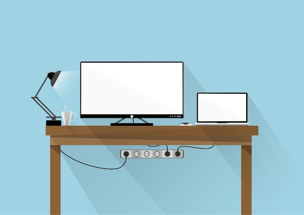 Flaches design desktop-monitor und laptop
