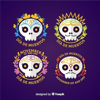 Flaches design día de muertos abzeichen