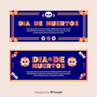 Flaches design día de muertos banner