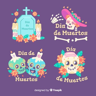 Flaches design día de muertos label kollektion