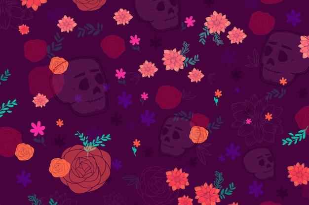 Flaches design dia de muertos muster