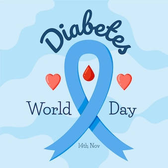 Flaches design-diabetes-tageskonzept