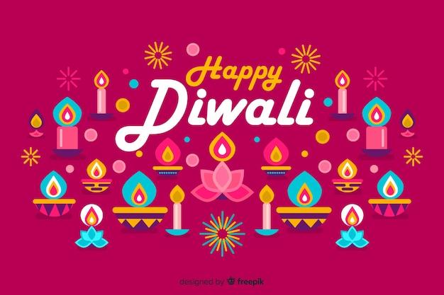 Flaches design diwali festival hintergrund