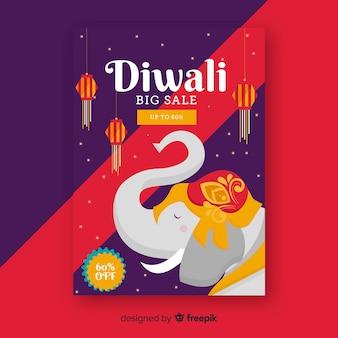 Flaches design diwali verkauf flyer vorlage