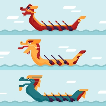 Flaches design drachenboot set