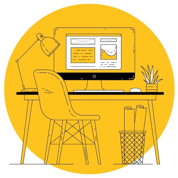 Flaches design dünne linie vektor-büroarbeitsplatz auf gelbem hintergrund