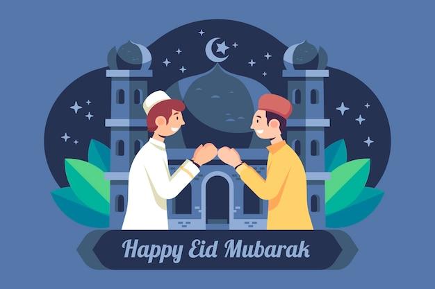 Flaches design eid mubarak mit betenden männern