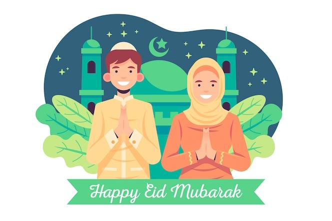 Flaches design eid mubarak mit mann und frau, die beten