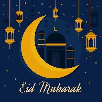Flaches design eid mubarak mit moschee und mond