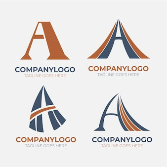 Flaches design einer logosammlung