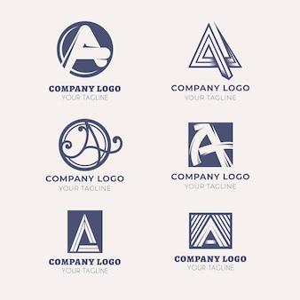 Flaches design eines logo-vorlagen-sets