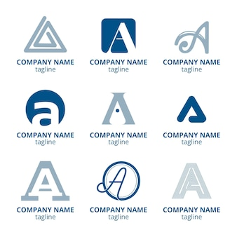 Flaches design eines logo-vorlagensatzes