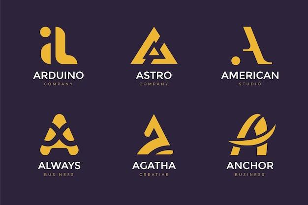 Flaches design eines logopakets Kostenlosen Vektoren