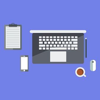 Flaches design eines schreibtischs mit einem laptop