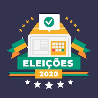 Flaches design eleições 2020 hintergrund