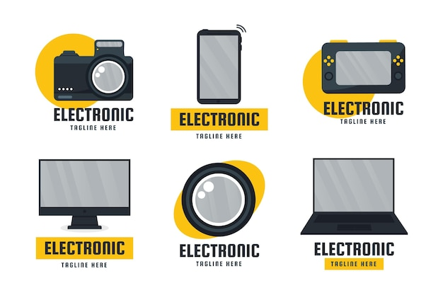 Flaches design elektronik-logopaket