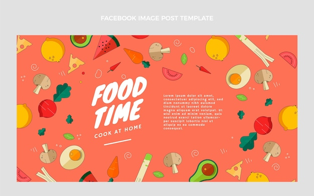 Flaches design essen facebook-post