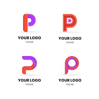 Flaches design farbige p logos gesetzt