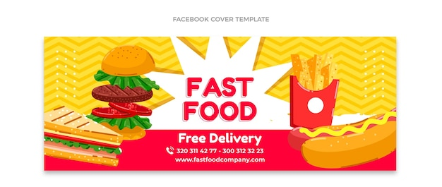 Flaches design fast-food-facebook-cover