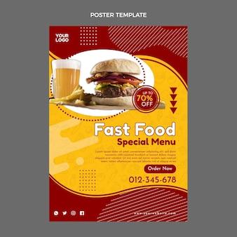 Flaches design fast-food-plakatschablone