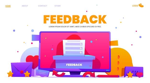 Flaches design-feedback-konzept dargestellt