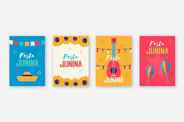 Flaches design festa junina kartensammlungsthema