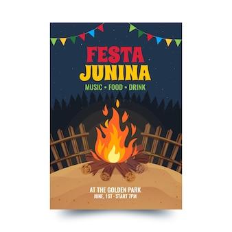 Flaches design festa junina plakat