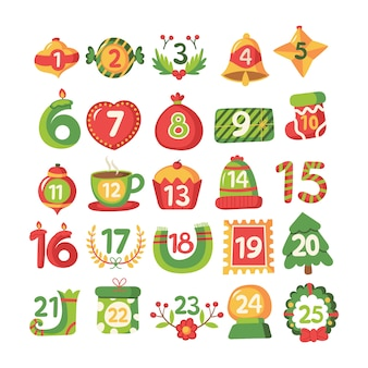 Flaches design festliche adventskalender