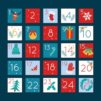 Flaches design festlichen adventskalender