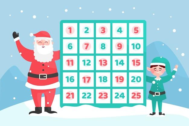 Flaches design festlichen adventskalender