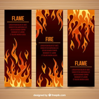 Flaches design feuer banner