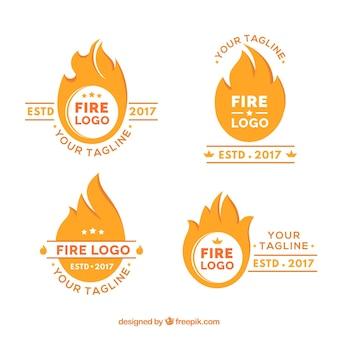 Flaches design feuer logo sammlung
