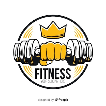 Flaches design fitness logo vorlage