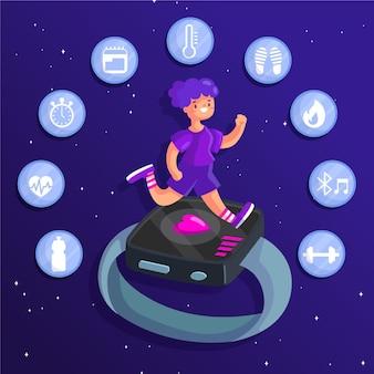 Flaches design-fitness-tracker-konzept