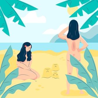 Flaches design fkk-konzept illustration