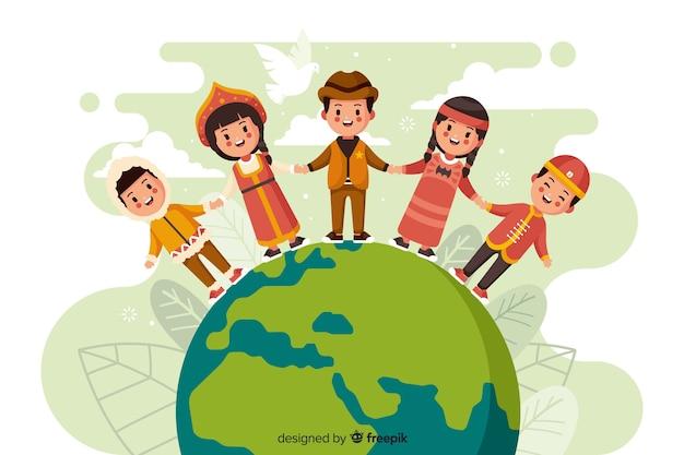 Flaches design friedenstag mit kindern