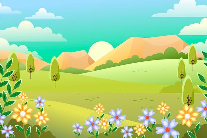 Flaches design frühling landschaftskonzept