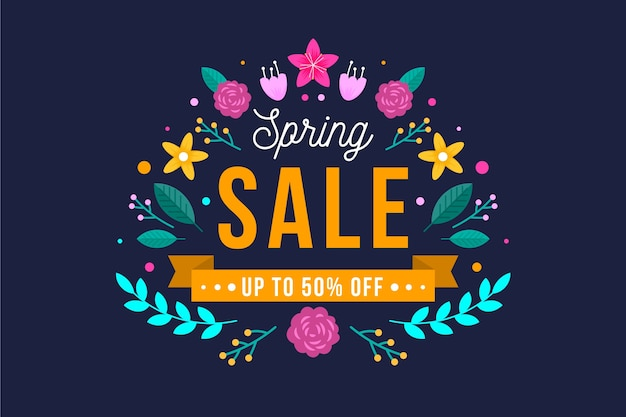 Flaches design frühling sale deal banner