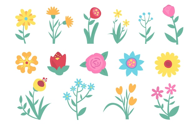 Flaches design frühlingsblumen sammlung