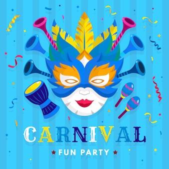 Flaches design für karnevalsparty mit maske