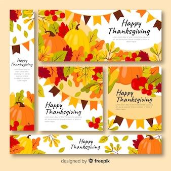 Flaches design für thanksgiving-banner