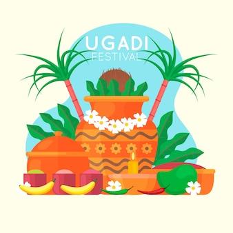 Flaches design für ugadi ereignis