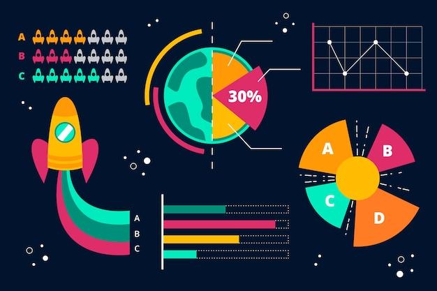 Flaches design für universum infografik