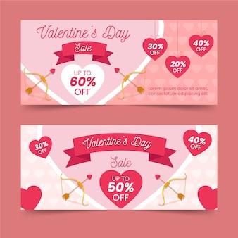 Flaches design für valentinstag banner