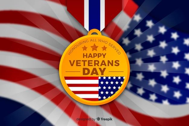 Flaches design für veteranentag mit medaille