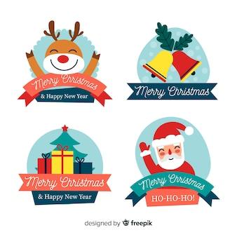 Flaches design für weihnachtsaufkleber und -ausweise